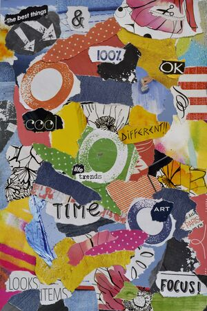 teared: Modern Atmosphere color blue, red, yellow, green, orange, black and white mood board collage sheet made of teared magazine paper with figures, letters, colors and textures, results in art