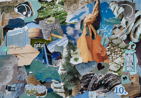 teared: Atmosphere moodboard collage sheet in color blue, gray and brown made of teared magazine paper with figures, letters, colors and textures, results naturally in sea art Stock Photo