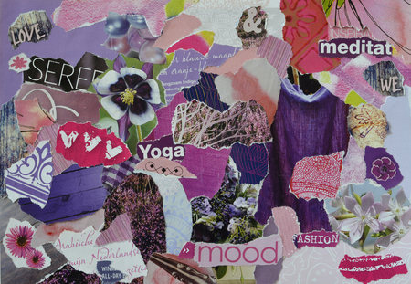 teared: Atmosphere color purple and pink serenity mood board collage sheet made of teared magazine paper with figures, letters, colors and textures, results in art Stock Photo