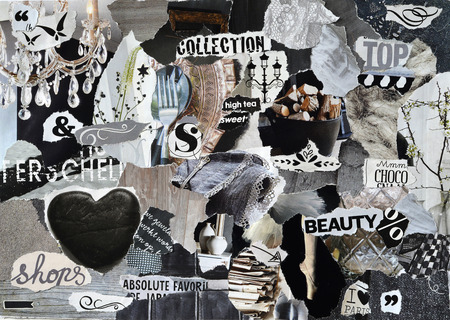 moodboard, collage sheets atmosphere with elegance elements with white, black and gray, and blue with heart, butterflies, ballet, flowers, home, and fabrics