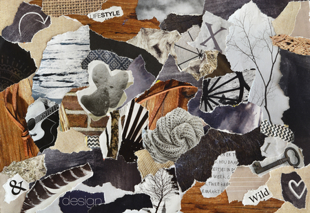 color gray, brown and black lifestyle Atmosphere mood board collage sheet made of magazines teared paper with figures, letters, colors and textures, results in art