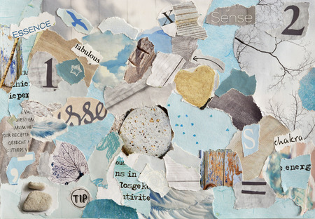 word collage: serene zen Creative Atmosphere art mood board collage sheet in color idea aqua blue, mint green, gray, white maggot or teared magazine paper and printed matter with colors and textures
