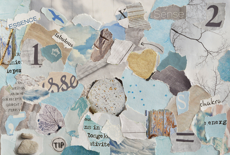 printed matter: serene zen Creative Atmosphere art mood board collage sheet in color idea aqua blue, mint green, gray, white maggot or teared magazine paper and printed matter with colors and textures