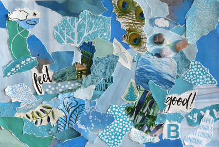 printed matter: Creative Atmosphere art mood board collage sheet in color idea blue, green, aqua and turquoise made of magazines and printed matter teared paper with colors and textures Stock Photo