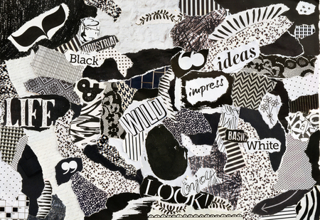 printed matter: Creative Atmosphere art mood board collage sheet in color idea black and white made of magazines and printed matter teared paper with signs and textures