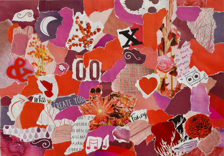 Creative Atmosphere art mood board. Collage sheet in color idea red, pink and purple white made of magazines and printed matter teared paper with flowers and textures Stock Photo
