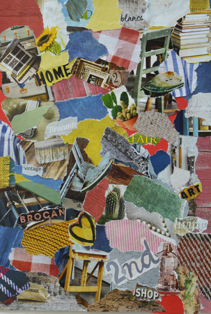 collage mood board with retro vintage elements at the second hand, flew market fair