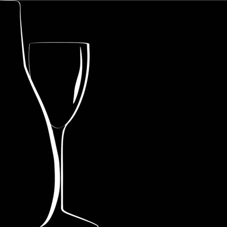 bottle and wineglass silhouettes on black background. vector