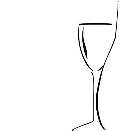 champagne celebration: bottle and wineglass silhouettes on white background. vector Illustration