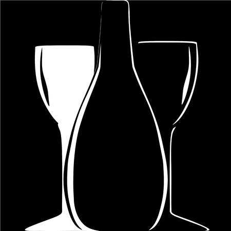 bottle and wineglasses silhouettes on black background. vector