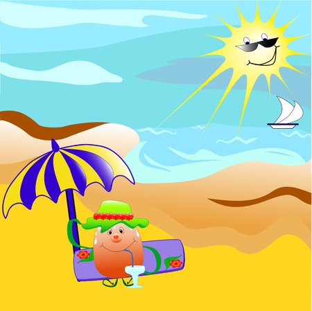 hot: Cartoon character sitting on the beach Illustration