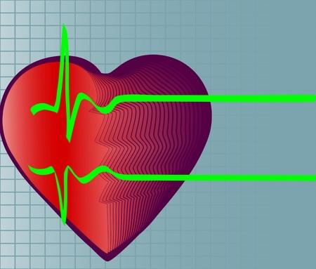 Illustrazione vettoriale di cuore e il simbolo del battito cardiaco. morte Archivio Fotografico - 4870669