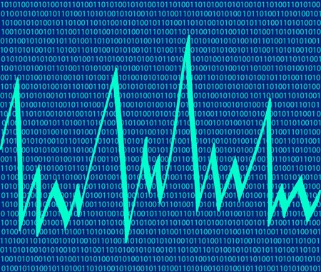 curve: technology background with binary code
