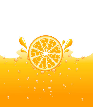 Orange falling into the orange juice, vector illustration Ilustracja