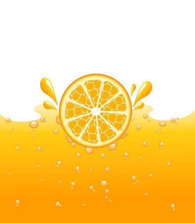 Orange falling into the orange juice, vector illustration Illustration