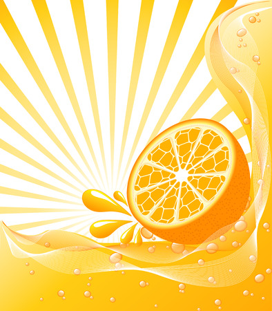 Beautiful Orange background with a sun. vector illustration Ilustracja