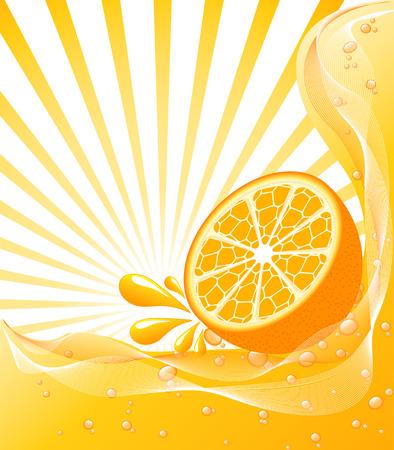 Mooie Oranje achtergrond met een zon. vectorillustratie Stock Illustratie