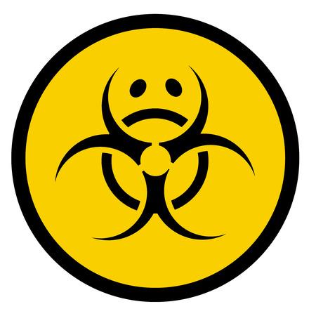 Vector bio hazard symbol with sad face Vector