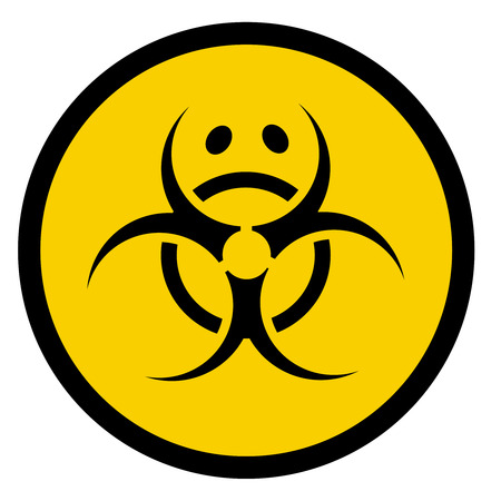hazard: Vector bio hazard symbol with sad face