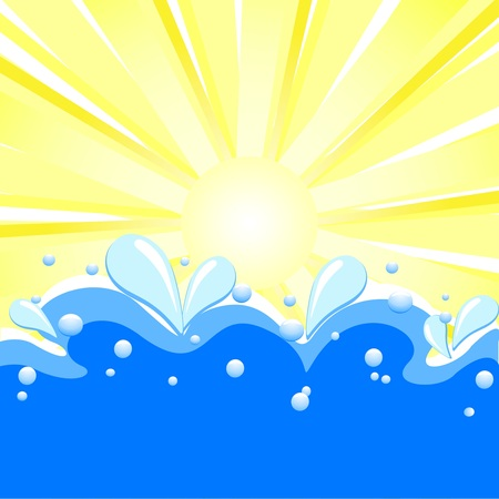 Vector illustration of summer background with sun rays, waves and water drops. Çizim