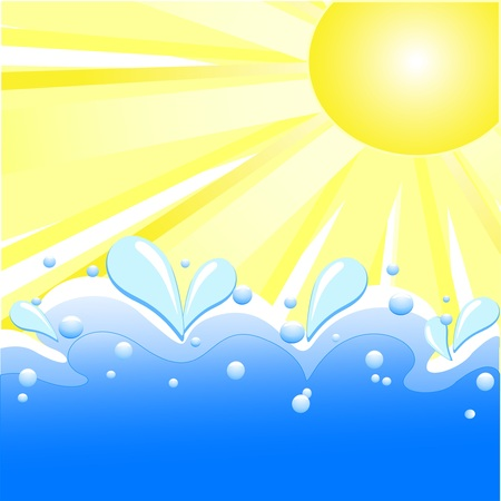 tidal: Vector Illustration Of Summer Background With Sun