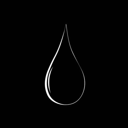 Water drop silhouette on black background. vector Vector