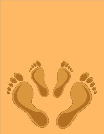 Footprints . mom and kid - design elements. Vector illustration Illustration