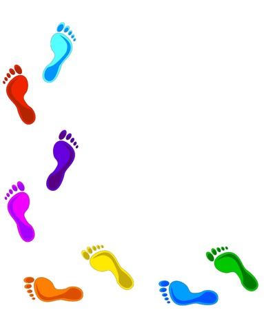 footprint: Huellas coloridos - elementos de dise�o. Ilustraci�n vectorial  Vectores