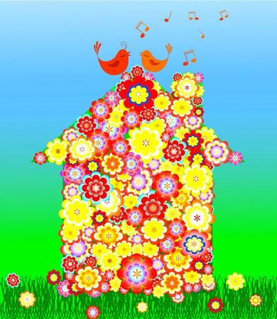 vector illustration of Flowers house with singing birds Stock Vector - 5379967