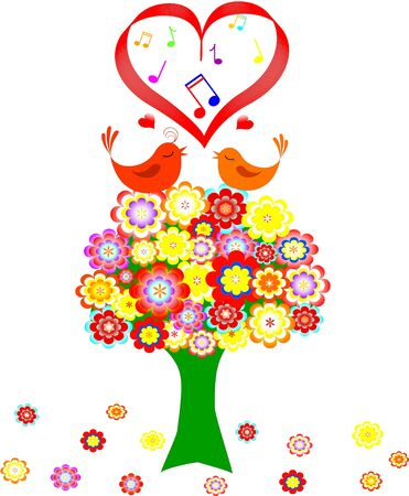 Tree in colorful flower with love bird on white background. vector illustration Illustration