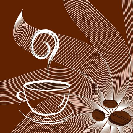 Cup of coffee with beans and sunshine. vector