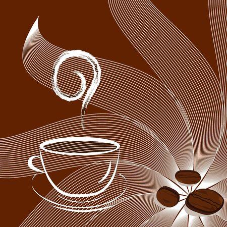 Tasse Kaffee mit Bohnen und Sonnenschein. Vektor Standard-Bild - 5431828
