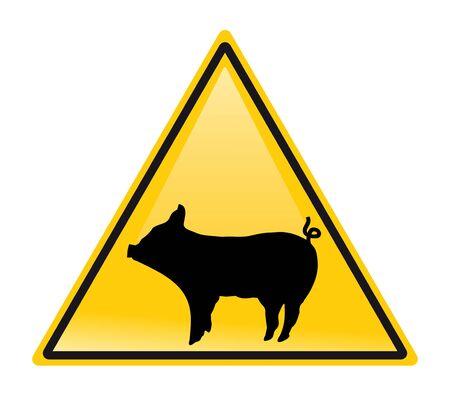 caution chemistry: warning swine flu sign. vector Illustration