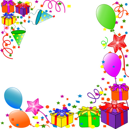 red balloons: Happy Birthday background. vector Illustration