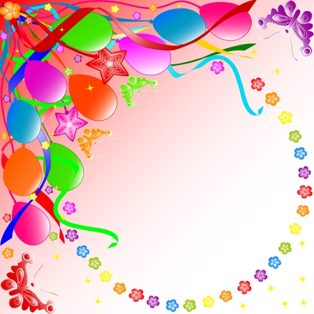 Colorful birthday background with balloons, ribbons, butterflies, flowers.  vector Vector