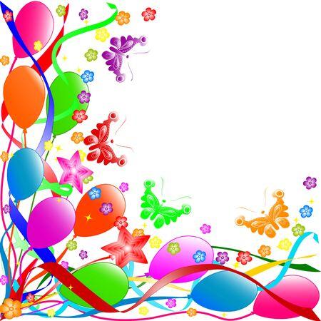 Kleurrijke verjaardag achtergrond met ballonnen, linten, butterflies, bloemen.  vector Stock Illustratie