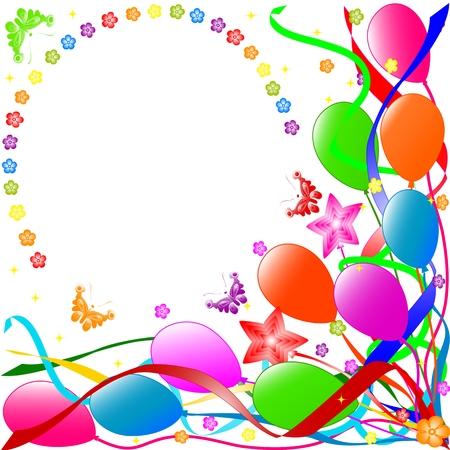 Kleurrijke verjaardag achtergrond met ballonnen, linten, vlinders, bloemen. vector