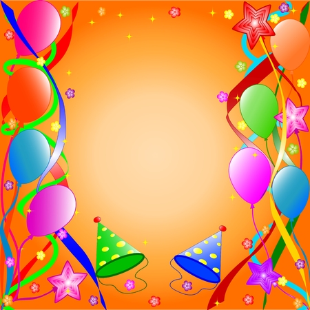 Colorful birthday background with balloons, ribbons, butterflies, flowers.  vector Stock Vector - 5447981