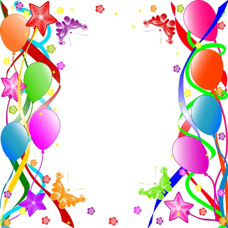 event: Colorful birthday background with balloons, ribbons, butterflies, flowers.  vector