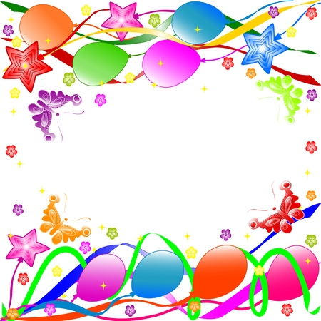 Colorful birthday background with balloons, ribbons, butterflies, flowers.  vector