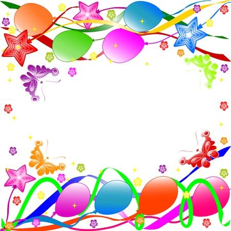 Geburtstag Hintergrund mit bunten Luftballons, Bändern, Schmetterlinge, Blumen. Vektor Standard-Bild - 5447982