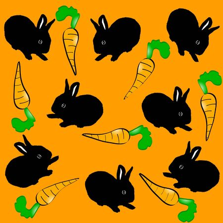 pattern with rabbits. vector illustration Stock Vector - 5566577