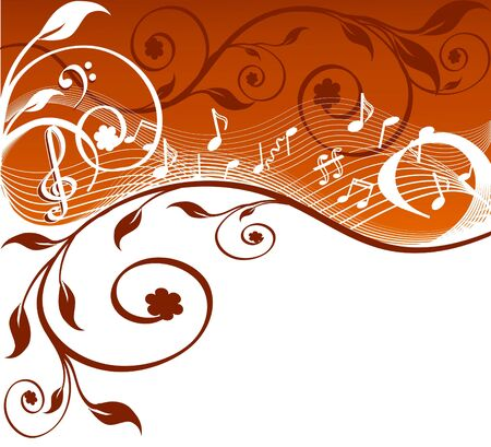 wind instrument:  Music background with notes and flowers. vector illustration