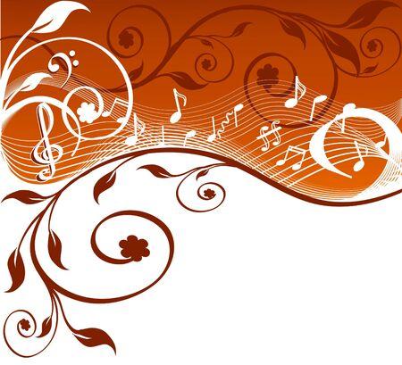 blaasinstrument: Muziek achtergrond met nota's en bloemen. vectorillustratie Stock Illustratie