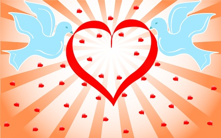 wedding reception decoration: blue doves holding red heart . vector illustration,