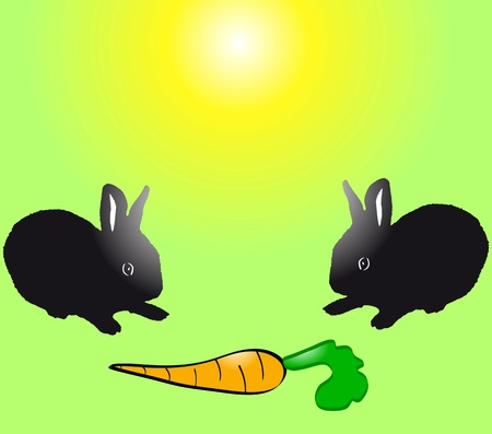 fleecy: Two cute black baby rabbits with carrot. Easter theme. vector illustration