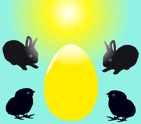 fleecy: Two cute black rabbits and chicks with egg. Easter theme. vector illustration