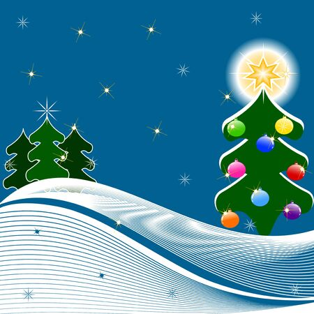 vector illustration of Christmas Tree with Christmas-tree decorations, snowflakes and waves Vector
