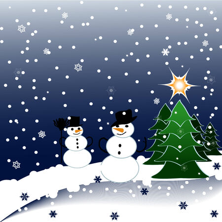 vector illustration of Snowmen on Christmas Background with the different beautiful snowflakes Stock Vector - 5702841
