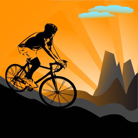 vector illustration of biker silhouette on sunny, mountain background